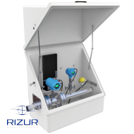 Diagonally opening fiberglass enclosures RIZURBOX-C with a tray